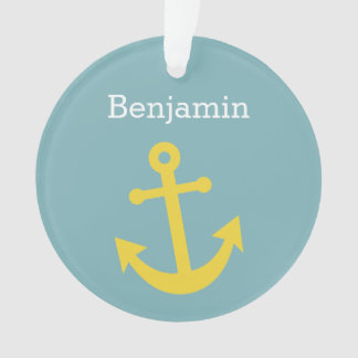 Yellow Anchor with Custom Name - Light Blue Ornament