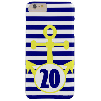 Yellow Anchor with Navy Horizontal Stripes Barely There iPhone 6 Plus Case