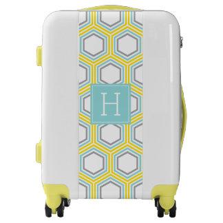 Yellow and Aqua Hexagons Pattern and Monogram Luggage