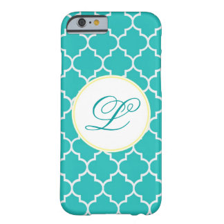 Yellow and Aqua Monogram Quatrefoil Barely There iPhone 6 Case