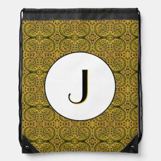 Yellow And Black Abstract Pattern Monogrammed Drawstring Bag