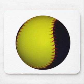Yellow and Black Baseball / Softball Mouse Pad
