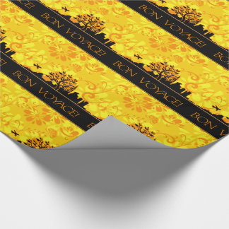 Yellow and Black Bon Voyage Wrapping Paper