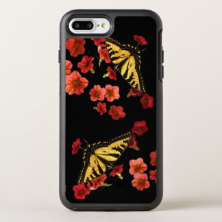 Yellow and Black Butterflies on Red Flower OtterBox Symmetry iPhone 7 Plus Case