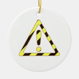 Yellow and Black Caution Sign Triangle Exclamation Round Ceramic Decoration