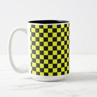 Yellow and Black Checkerboard Pattern Two-Tone Coffee Mug
