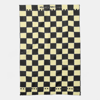 Yellow and Black Checkerboard Tea Towel