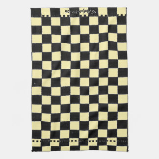 Yellow and Black Checkerboard Tea Towel