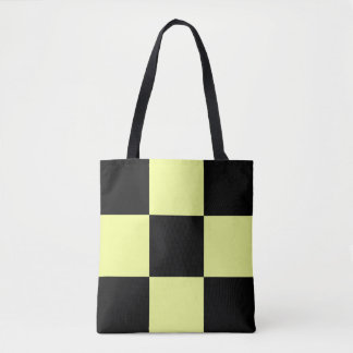 Yellow and Black Checkers Tote Bag