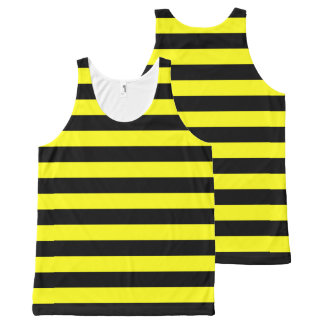 Yellow and Black Coloured striped pattern All-Over Print Singlet