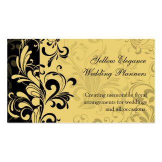 Yellow and Black Contemporary Swirl Business Card Templates