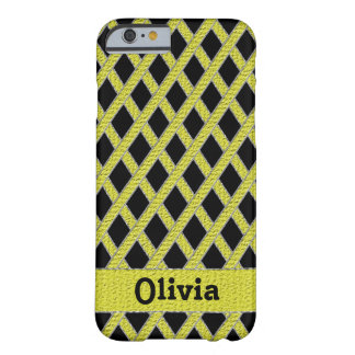 Yellow and black crisscross monogram cell phone ca barely there iPhone 6 case