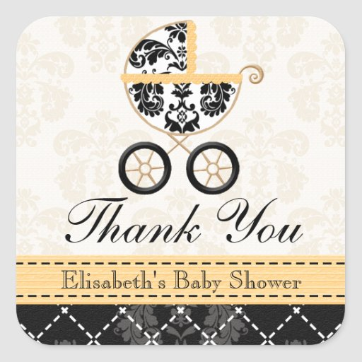 YELLOW and Black Damask Baby Carriage Thank You Sticker