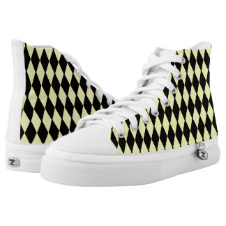Yellow And Black Diamond Pattern Printed Shoes