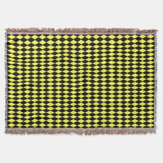 Yellow And Black Diamonds Throw Blanket