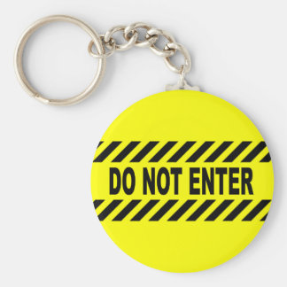 Yellow And Black Do Not Enter Sign Basic Round Button Key Ring