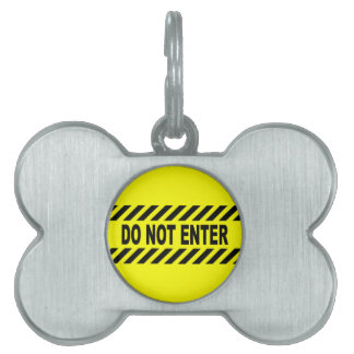 Yellow And Black Do Not Enter Sign Pet Name Tag
