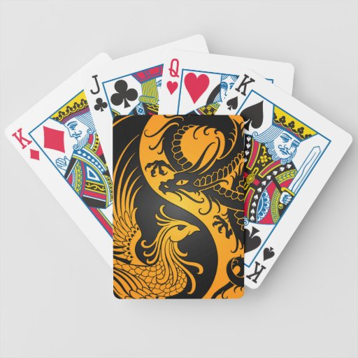 Yellow and Black Dragon Phoenix Yin Yang Bicycle Poker Cards