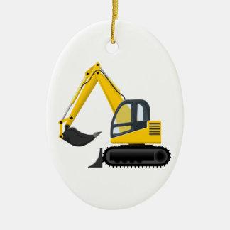 Yellow and Black Excavator Construction Machine Ceramic Oval Decoration