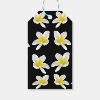Yellow And Black Frangipani Flower Pattern, Gift Tags
