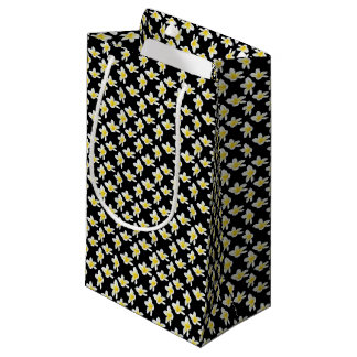 Yellow And Black Frangipani Flower Pattern, Small Gift Bag