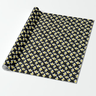 Yellow And Black Frangipani Flower Pattern, Wrapping Paper