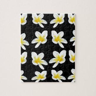 Yellow And Black Frangipani Pattern, Jigsaw Puzzle