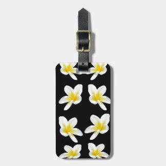Yellow And Black Frangipani Pattern, Luggage Tag