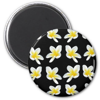 Yellow And Black Frangipani Pattern, Magnet