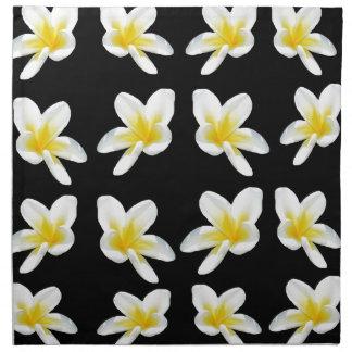 Yellow And Black Frangipani Pattern, Napkin