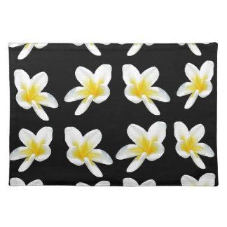 Yellow And Black Frangipani Pattern, Placemat