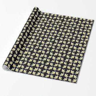 Yellow And Black Frangipani Pattern, Wrapping Paper