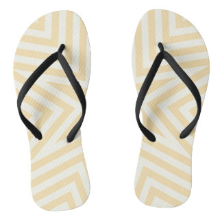 Yellow and black geometrical design, flip flops. thongs