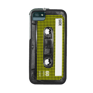 Yellow and Black Houndstooth Label Cassette Case For iPhone 5/5S
