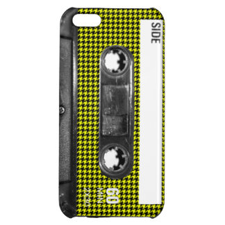 Yellow and Black Houndstooth Label Cassette Case For iPhone 5C