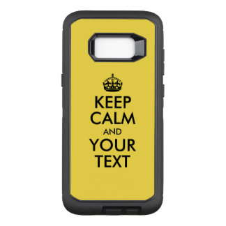 Yellow and Black Keep Calm and Your Text OtterBox Defender Samsung Galaxy S8+ Case