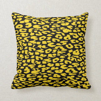 Yellow and Black Leopard Print Skin Fur Cushion