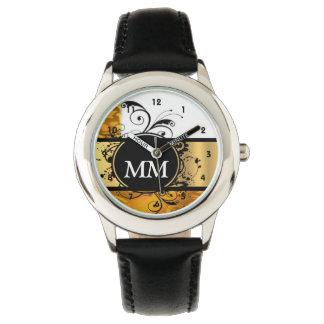 Yellow and black monogram on white wrist watches