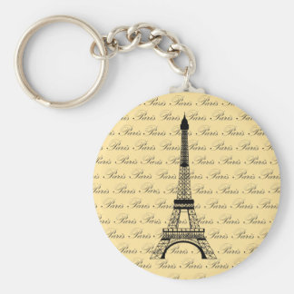 Yellow and Black Paris Eiffel Tower Basic Round Button Key Ring