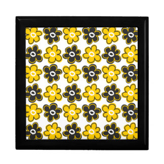 Yellow And Black Retro Flowers Pattern Keepsake Boxes