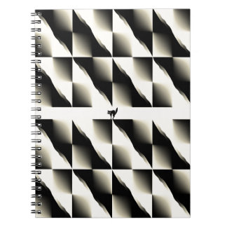 Yellow and Black Striped Diagonal Pattern Note Book