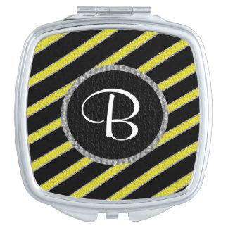 Yellow and black stripes monogram compact mirror