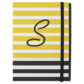Yellow and Black Stripes Monogrammed iPad Pro Case
