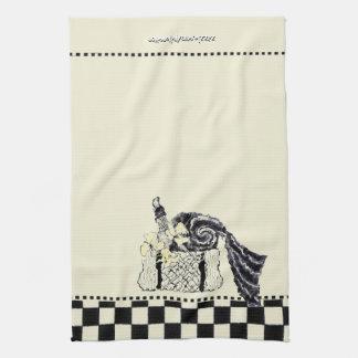 Yellow and Black Summer Picnic Basket Tea Towel