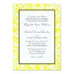 Yellow and Black Swirl Damask Wedding Personalised Invites