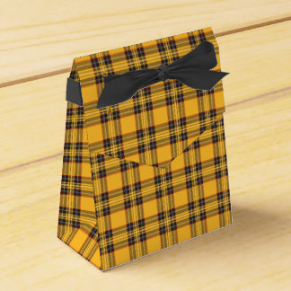 Yellow and Black Tartan Plaid Tent Favor Box