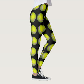 Yellow And Black Tennis Ball Pattern, Leggings