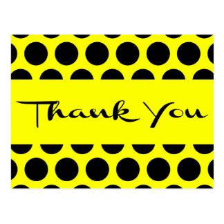 Yellow And Black Thank You Polka Dots Postcard