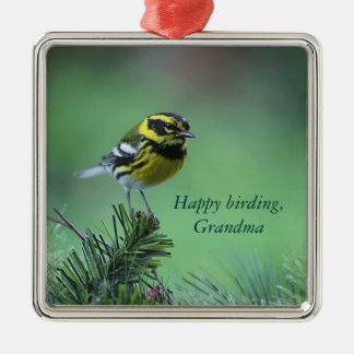 yellow and black warbler premium ornament