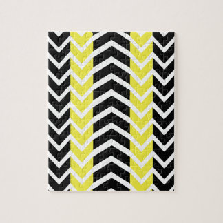 Yellow and Black Whale Chevron Jigsaw Puzzle